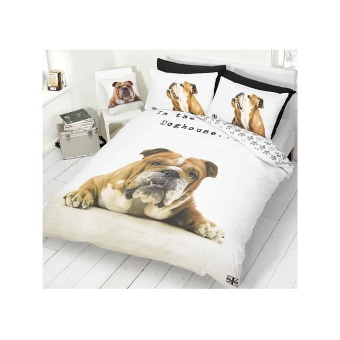 housse de couette bulldog 2 personnes lit 140 cm achat vente housse de couette cdiscount. Black Bedroom Furniture Sets. Home Design Ideas
