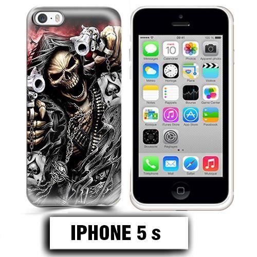 Coque iphone 5 5S tete de mort pistolet