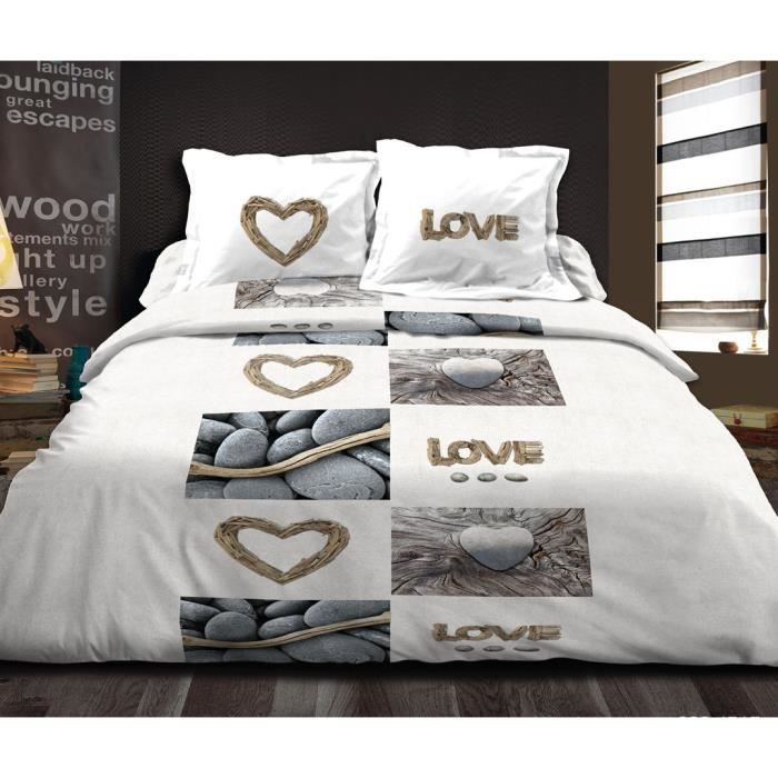housse de couette 240x260cm 2 taies d 39 oreiller 63x63 cm love nature ut achat vente housse. Black Bedroom Furniture Sets. Home Design Ideas