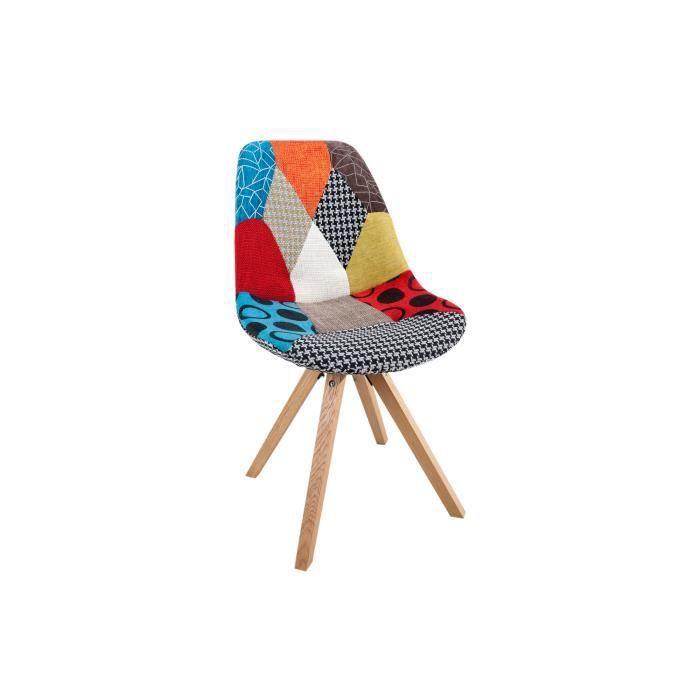 chaise chaise scandinave design patchwork en tissu struct - Chaise Scandinave Multicolore