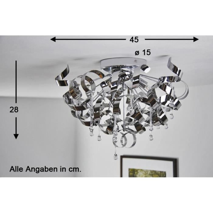 Lustre design chrome halogene tamisable luminaire achat for Luminaire lustre design
