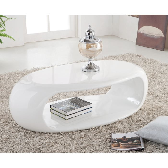 Table Basse Moderne Liora Laquee Ovale Blanc Achat