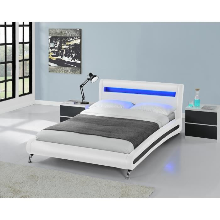 shuttle lit pu blanc a led 160x200 cm achat vente. Black Bedroom Furniture Sets. Home Design Ideas