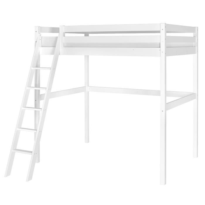lit mezzanine 2 personnes 140x200 pin massif blanc achat vente lit mezzanine lit. Black Bedroom Furniture Sets. Home Design Ideas