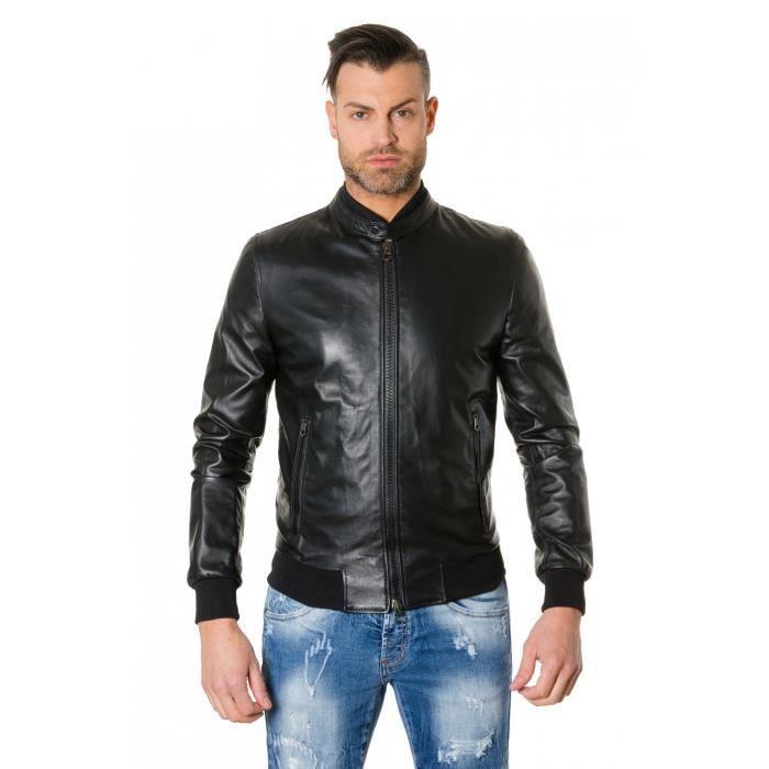 noir cuir style Blouson Noir plongé couleur homme GAUDI cuir Colore bomber shtrQd