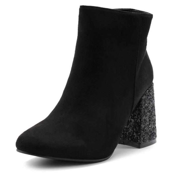 Chaussures Faux Suede Zipper Up Chunky Talons Glitter Bottines Twb0103 CMXFP Taille-38 1-2