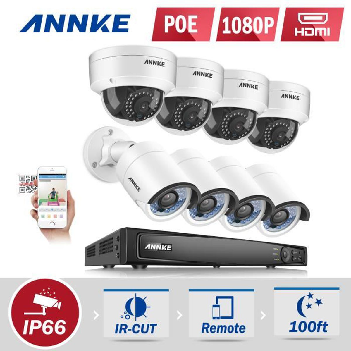 kit camera de surveillance sans fil exterieur 8 ch ahd poe nvr 1080p enregistreur 8 camera. Black Bedroom Furniture Sets. Home Design Ideas