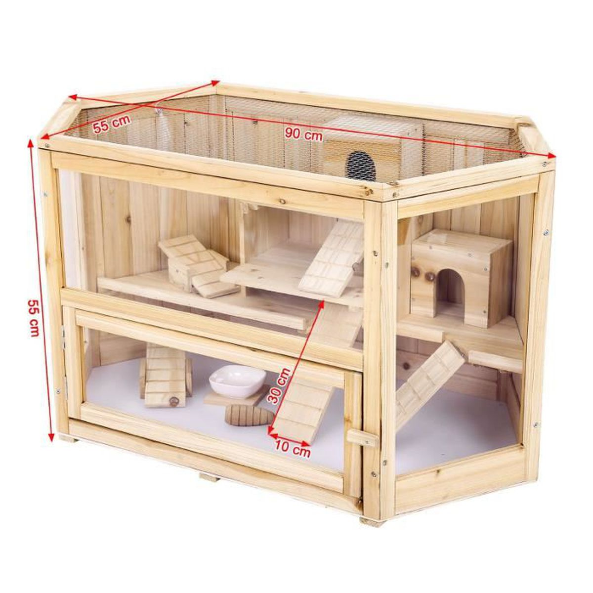 cage pour hamsters souris et gerbilles cabane bois. Black Bedroom Furniture Sets. Home Design Ideas