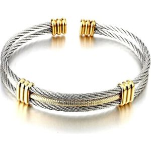 Hommes Femmes acier inoxydable Ton argent torsadée Câble Réglable Bangle Bracelet