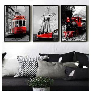 Moderne Noir Et Blanc Couleur Série Rouge Train Voile