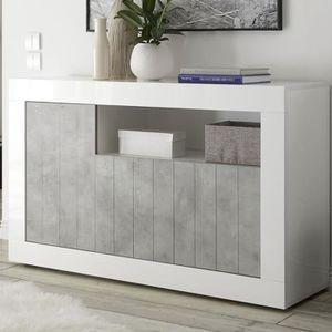 BUFFET - BAHUT  Petit bahut 140 cm blanc effet béton gris moderne