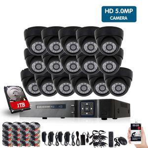 CAMÉRA DE SURVEILLANCE 16ch Full HD 5MP Surveillance Kit CCTV DVR H.265 E