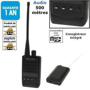 Système d'écoute Espion-Enregistreur audio à 500m (avec micro + tra