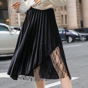 JUPE Mode Femmes Printemps haute taille élastique Or ve