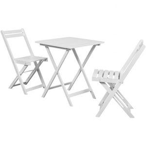 VidaXL Table à manger avec deux chaises pour balcon Blanc ...