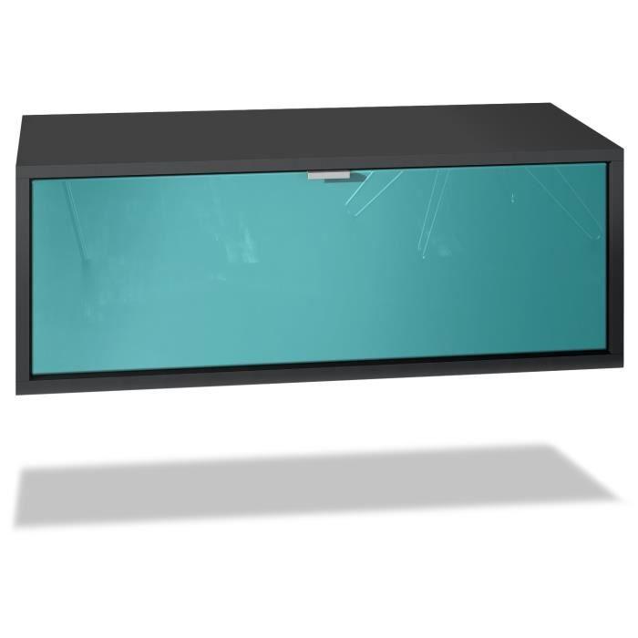 Meuble TV Lana 80 armoire murale lowboard 80 x 29 x 37 cm, caisson en noir mat, façades en Turquoise haute brillance