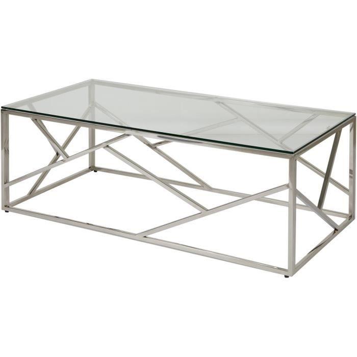 Table basse JENSON Gris - plateau Verre pieds Metal 120 x 60