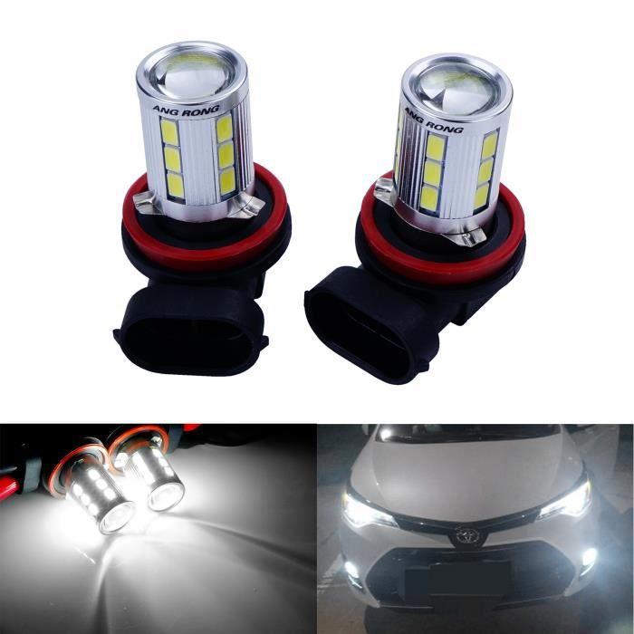 ANGRONG 2x H8 H11 21-SMD LED Ampoule 6W Blanc Xenon 6000K Anti Brouillard Feux de Jour DRL