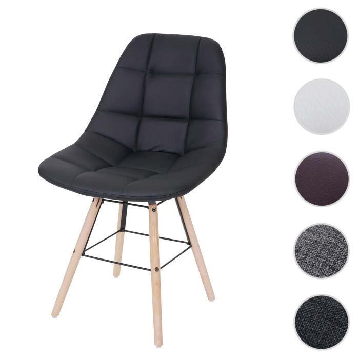 Chaise de salle à manger HWC-A60 II, chaise de cuisine, design rétro des années 50 ~ similicuir noir