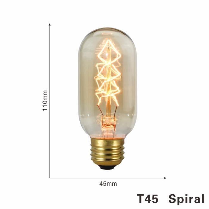 Ampoule rétro Edison, Vintage, lampe à filaments, E27, 220V, 40W, A19, A60, ST64, T10, T45, T185, G80, G95 [5972786]