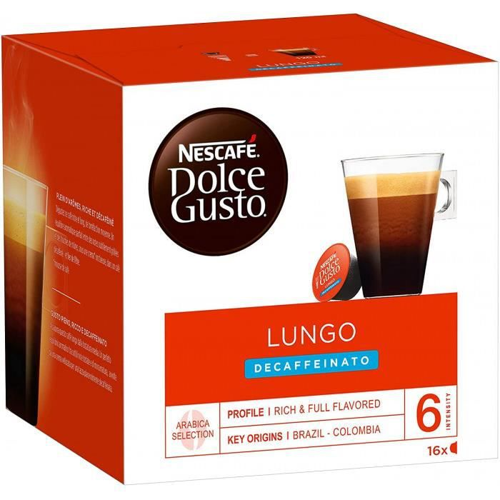 Nescafé Dolce Gusto Lungo Decaffeinato - Café Décaféiné - 16 Capsules (1 Boîte X 16)