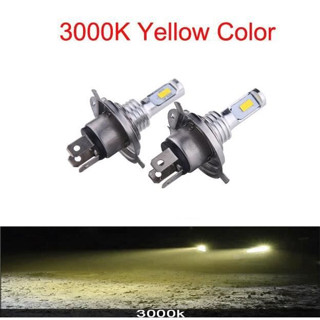 2PC H4 H7 H11 Universel 6500K Moto Phare Antibrouillard Lampe CSP LED Ampoule Hi Lo Faisceau Sans Fil Installat H4-3000K -WM1141