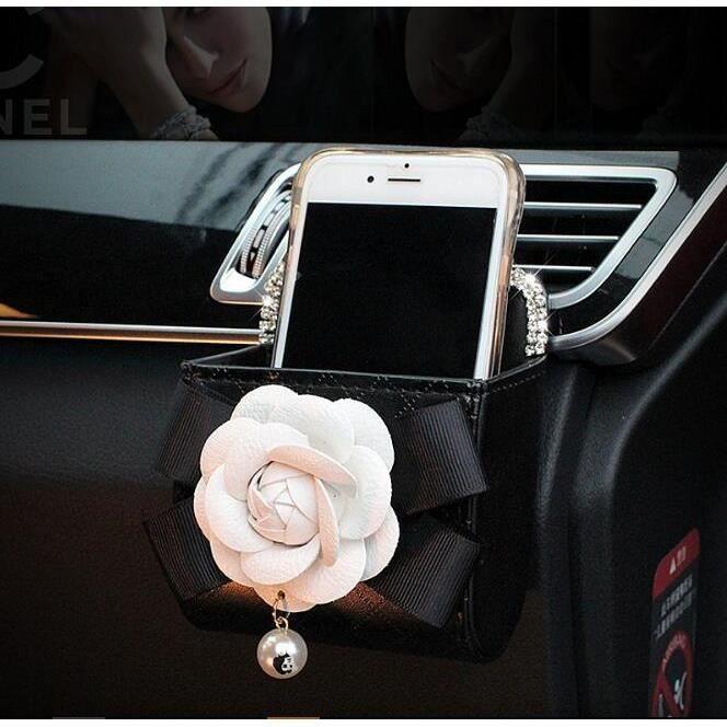 Housse de volant en cuir pour femme, accessoires d'intérieur de voiture, strass cristal, fleur camé 1pcs Storage bag