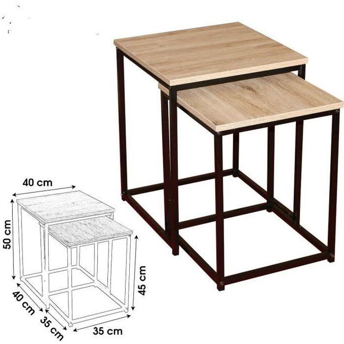 table basse gigogne loft encastrer design industriel appoint bois metal gueridon table basse chevet bois metal