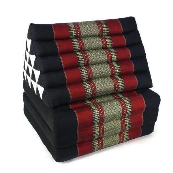 Traditionnel Thai Jumbo trois-Fold coussin méditation Tapis Siège dépliable fabriqués à la main XL Rouge Noir