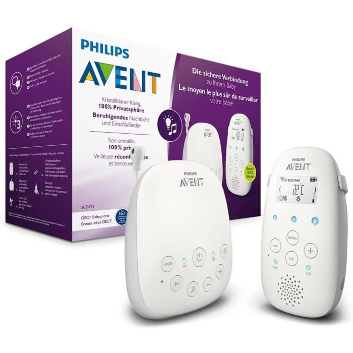 Philips Avent Babyphone Audio SCD713-26 - Technologie DECT - Mode Eco - Autonomie : 18 Heures - Interphone, berceuses