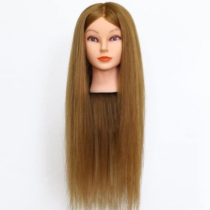 Neverland 26 Pouce Tête à coiffer 90% Vrai Cheveux Humains Naturel Mannequin Tête Formation Coiffure avec Support Blond 66CM