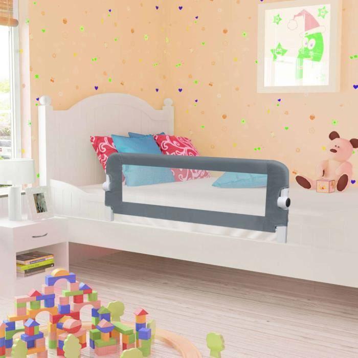 Barrière de sécurité de lit enfant Gris 102x42 cm Polyester -PAI