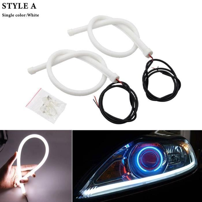 Feu de jour Flexible LED DRL, 30-45-60cm, étanche, blanc ambre bleu rouge -White-30CM