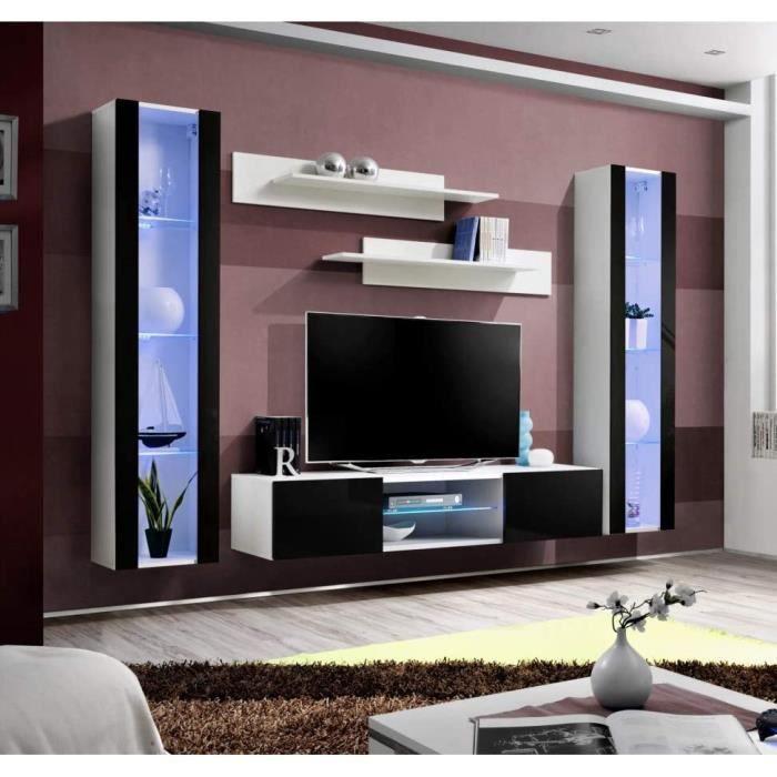 Ensemble Meuble TV Mural - Fly O2-260 X 40 X 190 Cm - Noir Et Blanc[390]