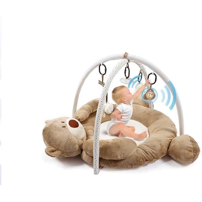PUDDINGT Tapis D'éveil Bébé Musical, Dès La Naissance, Ours Polaire Baby Gym Jeu De Cerveau avec Plus De 5 Jouets Et Activités,176