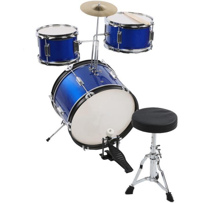 Zerodis Tambour 16 pouces AILIYA Kit de Tambour Bleu 16 po pour Pratique de Junior Enfant Instrument de Musique avec Tabouret
