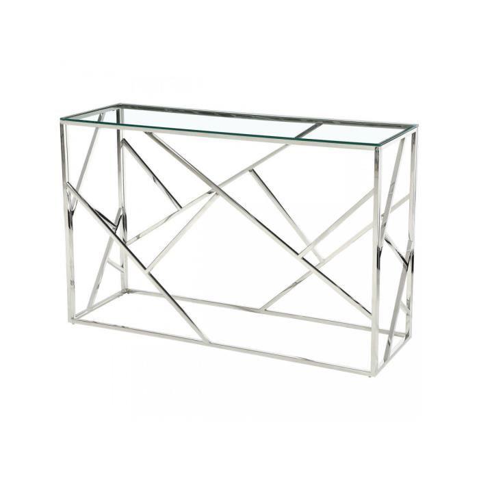 Console simple pateau en verre ISLAND Gris