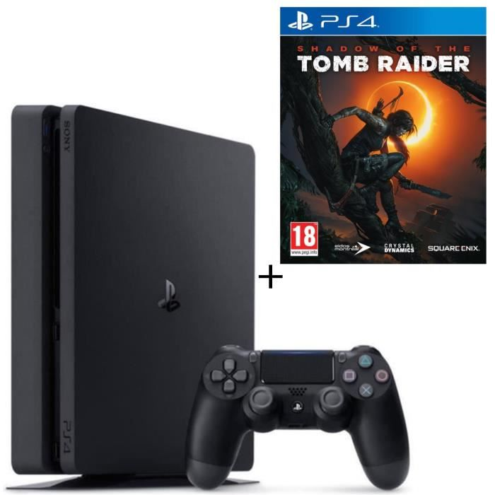 Pack PS4 1 To Noire (Reconditionnée) + Shadow of the Tomb Raider