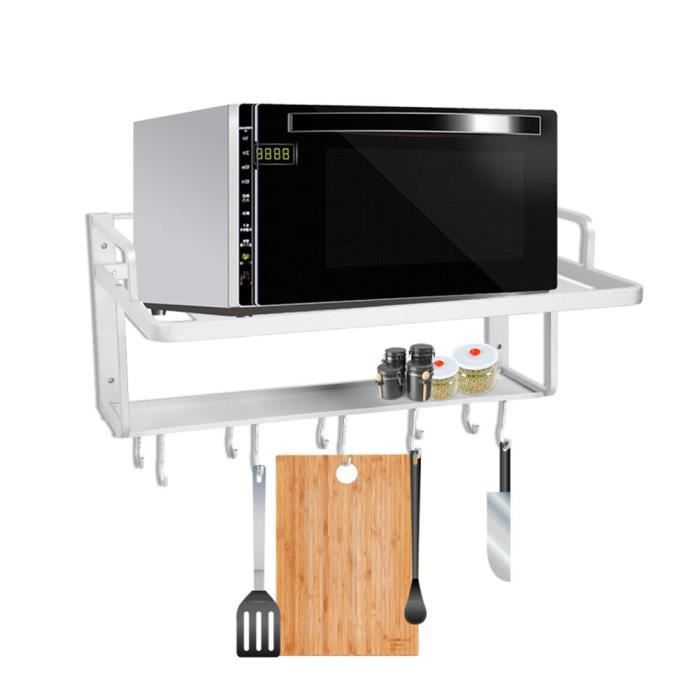 Etagères Murale Support suspendus aluminium double couches pour four Micro-ondes cuisine organisateur stockage ZJ42 HB051 -BOT