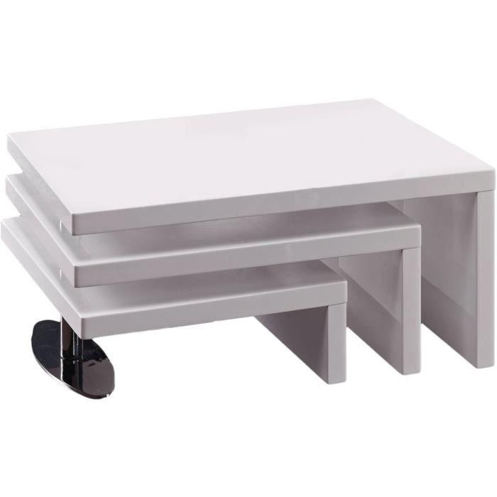 TABLE BASSE DESIGN ELYSA EN MDF LAQUE BLANC - 80 X