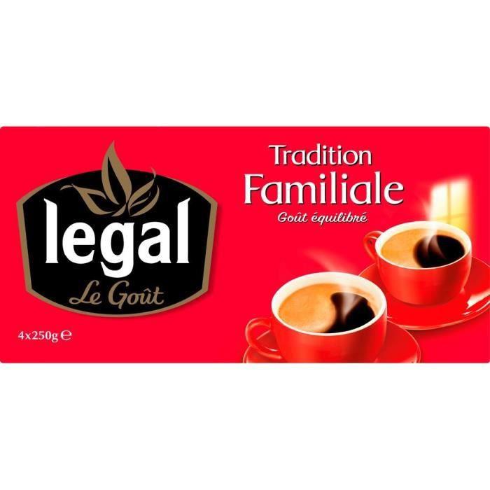 LEGAL Lot de 4 Cafés Tradition Familiale Moulu - 250 g