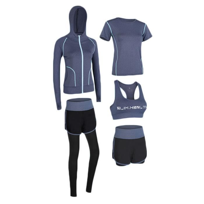 Ensemble de Vetement Sport Femme 5 Pieces Fitness Running