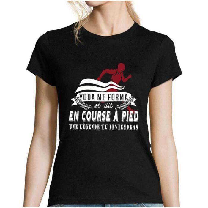 Course à Pied - Running - Légende Yoda - Tshirt Femme Collection Sport Humour Geek pour Tous Les Sportifs Passionnés