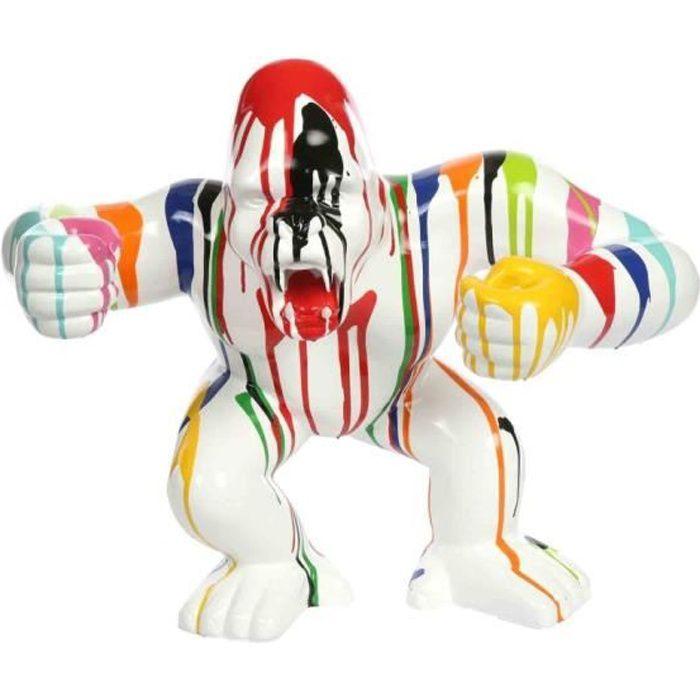Statue en résine gorille singe debout multicolore fond blanc 57 cm H, 45 x L, 57 x l, 27 Multicolore