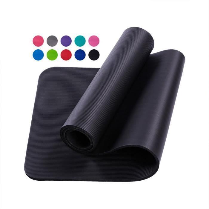 Tapis d'exercice Fitness Tapis de Yoga 183 x 60 x 1,5 cm en Mousse NBR noir