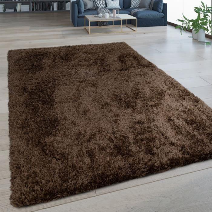 Tapis Salon Poils Longs Lavable Shaggy Aspect Flokati Uni Brun [120x160 cm]