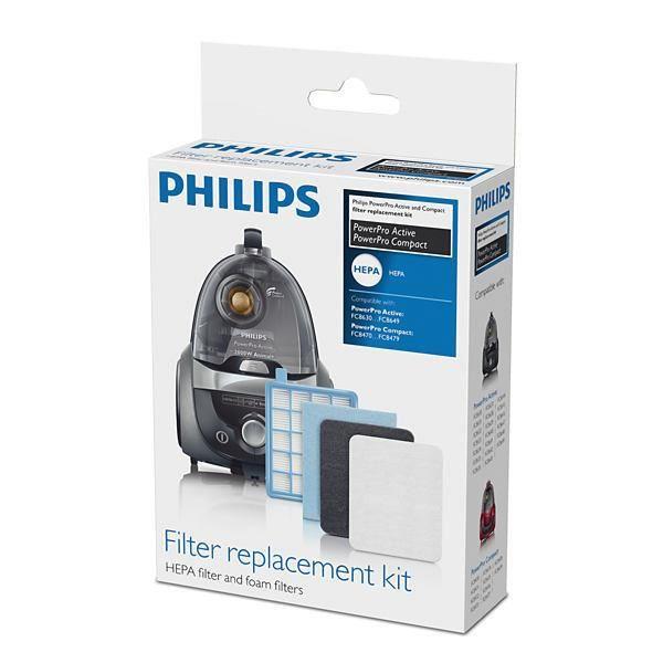PHILIPS FC8058/01 Kit 1 filtre de sortie HEPA 10, 1 filtre moteur, 1 filtre en mousse - Pour aspirateurs Philips PowerPro Active