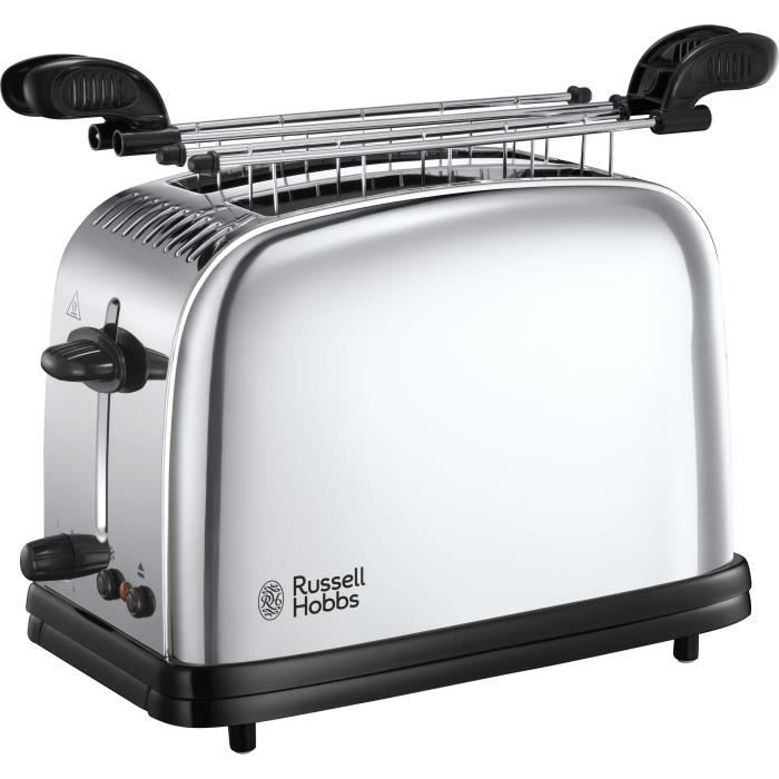 RUSSELL HOBBS 23310-56 Toaster Grille Pain 1670W Chester, 2 Fentes, Chauffe Viennoiserie, Rapide - Inox