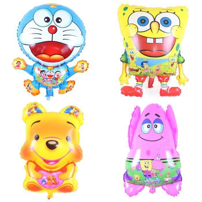 4pcs / set Winnie l'Ourson, Doraemon, Bob l'éponge, Patrick ballons feuille mignon pour les enfants
