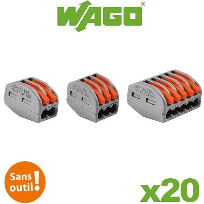 Wago - Bornes 2.3 et 5 entrées S222 Blister de 20